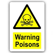 Warning Poisons-Aluminium Metal Sign-150mmx100mm-Door,Notice,Safety,Science,Business,School,Health